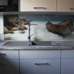 Küchenrückwand aus Glas mit Fotodruck Felsen